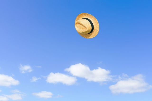 風で飛ぶ帽子
